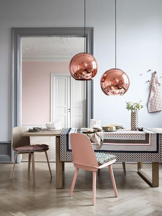 Медь в дизайне интерьера столовой 1