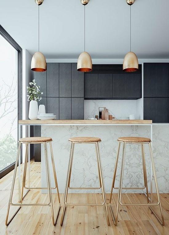 Медь в дизайне интерьера столовой 2